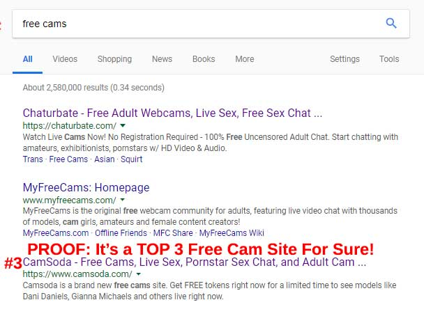 top three free cams search results